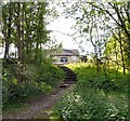 SJ9694 : Steps to Godley Hall Inn by Gerald England