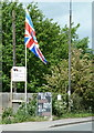 SK4266 : Signs and flag by Chesterfield Road by Andrew Hill
