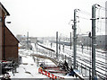 TL4656 : Easter Sunday snow at Cambridge Station by John Sutton