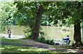 TQ2797 : Fishing On Beech Hill Lake by Martin Addison