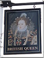 TQ4365 : Sign for The British Queen, Crofton Road, BR6 by Mike Quinn