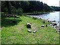 NS8467 : Hillend Reservoir, marker stone No. 45 by Robert Murray