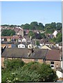 TQ3263 : South Croydon rooftops and St Augustine's church, from the train by Christopher Hilton