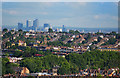 TQ3780 : View of Canary Wharf from Alexandra Palace by Julian Osley