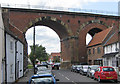 NZ4113 : Two of the arches of the Yarm Viaduct from Bridge Street by Pauline Eccles
