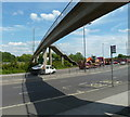 SK3870 : Footbridge over the A617 by Andrew Hill