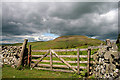 NT8021 : A gate and drystane dyke at Kersmoor Head by Walter Baxter