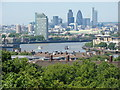 TQ3877 : View of the Thames passing the Isle of Dogs from the hill by the Royal Observatory #2 by Robert Lamb