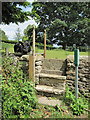 SE9784 : Restored stone stile near Hutton Buscel church by John S Turner