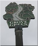TQ7856 : Close-up of Grove Green Village Sign  by David Anstiss