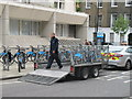 TQ3082 : Relocating hire bikes, Bloomsbury by David Hawgood