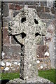 SW7114 : Lichen covered gravestone in St Grada churchyard by Rod Allday