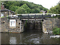 SE0922 : Salterhebble Top Lock 39 from below by Mike Todd