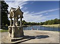 SJ3786 : Boating lake and fountain, Sefton Park, Liverpool by Paul Harrop