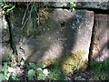 SK2462 : Cut bench mark on old abutment in Lees Road, Birchover by Brian Westlake
