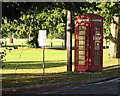 SU9455 : Phone box on Pirbright Green - outside the Cricketers by Kim Martin