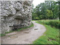 SK2164 : Seat under Limestone cliff in Bradford Dale by peter robinson