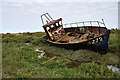 TG0345 : 'WH272' washed up, Cley Channel by Julian Dowse
