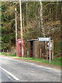 NT7359 : Telephone box and bus shelter near Ellemford by Miss Steel