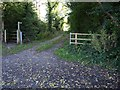 ST5959 : Entrance to lane and footpath off A368, next to Stoneylands by David Gearing