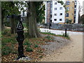 TQ3678 : National Cycle Milepost in Pepys Park by David Anstiss