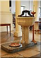 TQ3880 : All Saints, Newby Place, Poplar - Font by John Salmon