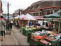 SU9949 : Market in North Street Guildford by Paul Gillett