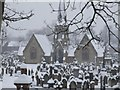 SJ7891 : Brooklands cemetery in the snow by Bernie O'Brien White
