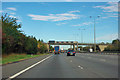 TL1783 : A1(M) - sign gantry and St Andrew's Way bridge, Sawtry by Robin Webster