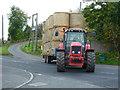 NT1655 : Tractor pulling hay bales at Carlops : Week 41