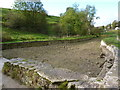 SK2164 : Dried up swimming pool, River Bradford by Peter Barr