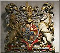 TQ3181 : St. Etheldreda's Church, Ely Place, EC1 - royal coat of arms by Mike Quinn
