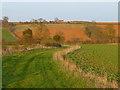 SP4045 : Farmland and footpath, Horley by Andrew Smith