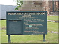 SJ6543 : Parish Church of St James the Great, Audlem, Sign by Alexander P Kapp
