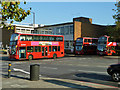 TQ3073 : Bus leaving Brixton Garage by Robin Webster
