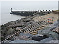 TM2623 : Walton on the Naze: boulders, steps and breakwater by Chris Downer