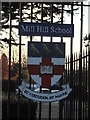 TQ2292 : Mill Hill School emblem, school gates, The Ridgeway NW7 by Robin Sones