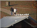 TQ6039 : Standing on the boat house roof by Oast House Archive