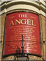 TQ3479 : Sign on The Angel, Bermondsey Wall East, SE16 by Mike Quinn