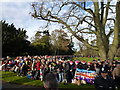 TF6928 : Crowd outside Sandringham Church - Christmas Day 2011 by Richard Humphrey