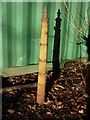 SJ8092 : Fence post near Jackson's Boat car park, Rifle Road, Sale by Phil Champion