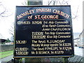 SD9602 : Mossley Parish Church of St George, Sign by Alexander P Kapp