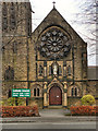 SJ8394 : English Martyrs Catholic Church Door and  Rose Window by David Dixon