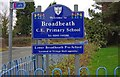 SO8057 : Broadheath Church of England Primary School (3) - sign, Sailor's Bank, Lower Broadheath by P L Chadwick