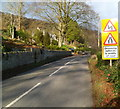 SO8707 : Warning of oncoming vehicles in middle of road, Slad by John Grayson