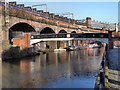 SJ8297 : Footbridge and Viaduct, Bridgewater Canal, Castlefield by David Dixon