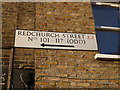 TQ3382 : House direction sign, Redchurch Street E2 by R Sones