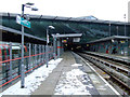 TQ3884 : Snow at Stratford DLR station by Thomas Nugent