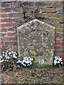 TA1063 : Gravestone against a brick wall, St Martin's churchyard by Pauline Eccles