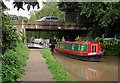 SJ7065 : Narrowboat and Long Lane Bridge in Middlewich, Cheshire by Roger  Kidd